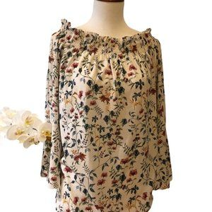 Pull&Bear Small Floral Open Collar Blouse
